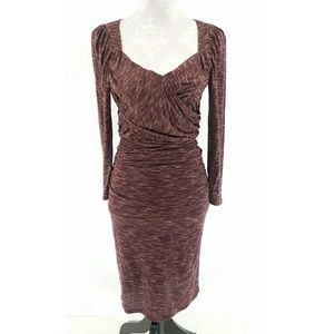 Ruched Heathered Maroon Dress